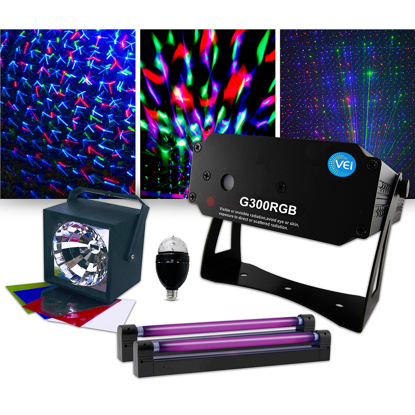 VEI G300 RGB Special Effects Laser with Party Bulb, Strobe and Blacklight Pair Lighting Package thumbnail