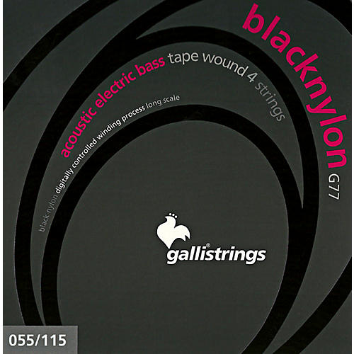 Galli Strings G77 BLACK NYLON TAPE WOUND Acoustic Bass Strings 55-115-thumbnail