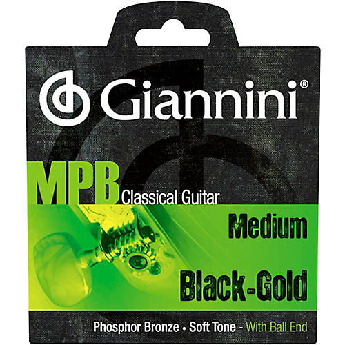 Giannini GENWBG Classical Guitar Medium Tension Phosphor Bronze Black Nylon Ball End Strings thumbnail