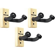 Proline GH1 Guitar Wall Hanger 3-Pack (Wood Finish)