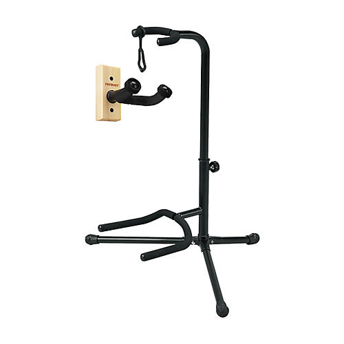 Musician's Gear GH1 Guitar Wall Hanger and SSG-303 Tubular Guitar Stand Package thumbnail