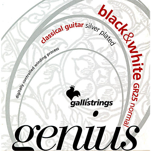 Galli Strings GR25 GENIUS Black and White Coated Silverplated Normal Tension Classical Acoustic Guitar Strings-thumbnail