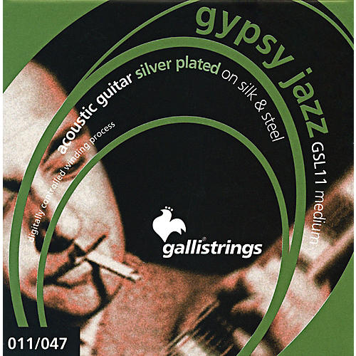 Galli Strings GSL11 GYPSY JAZZ Silver Plated Silk And Steel Medium Acoustic Guitar Strings-thumbnail