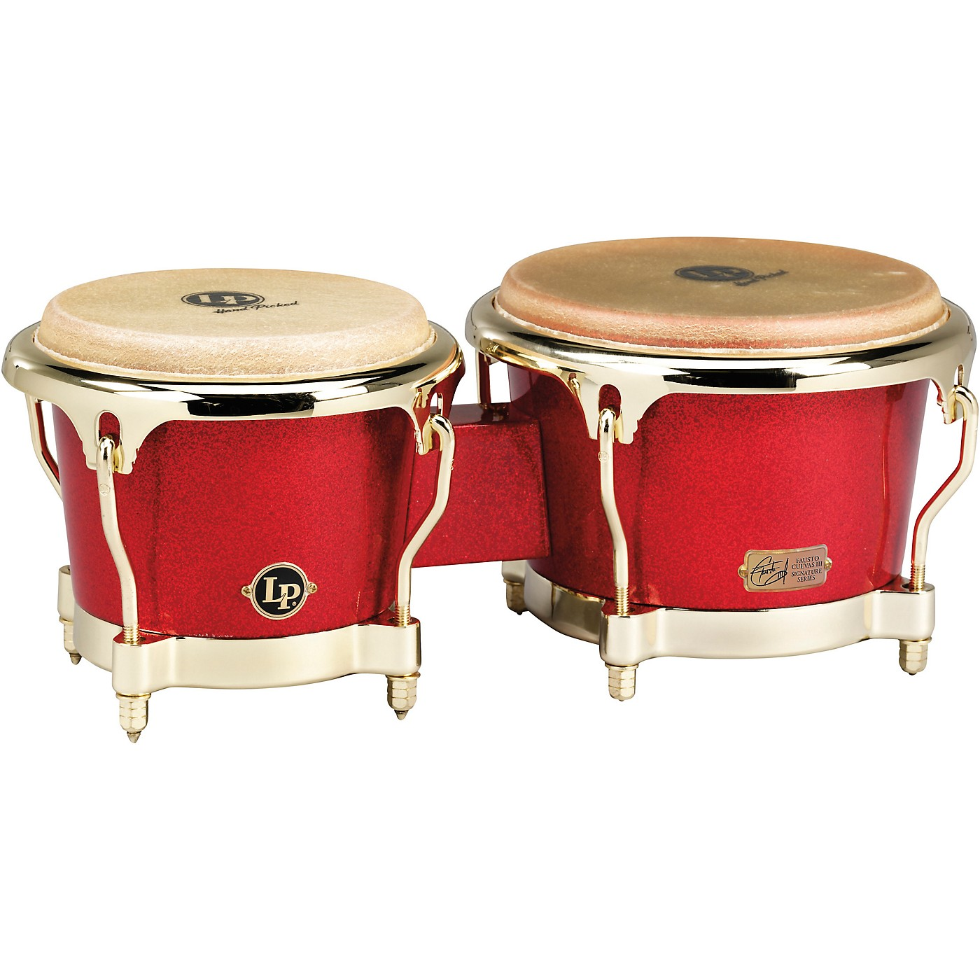 LP Galaxy Series Fiberglass Fausto Cuevas III Signature Bongos, Arena Red with Gold Hardware thumbnail