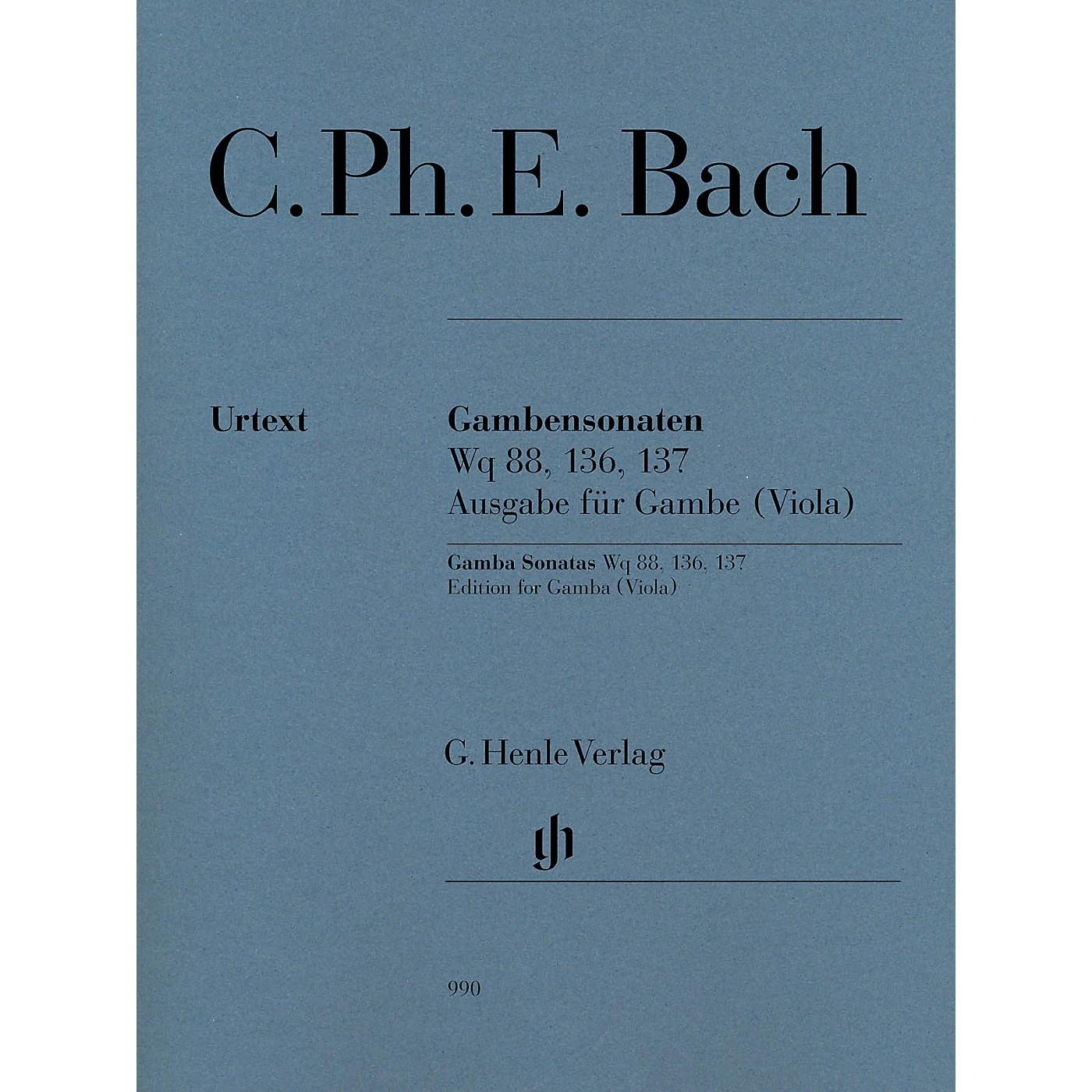 G. Henle Verlag Gamba Sonatas, Wq 88, 136, 137 by Carl Philipp Emanuel Bach Edited by Ernst-Gunter Heinemann thumbnail
