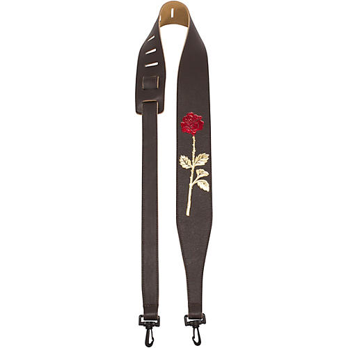 Perri's Garment Leather Banjo Strap With Embossed Rose thumbnail