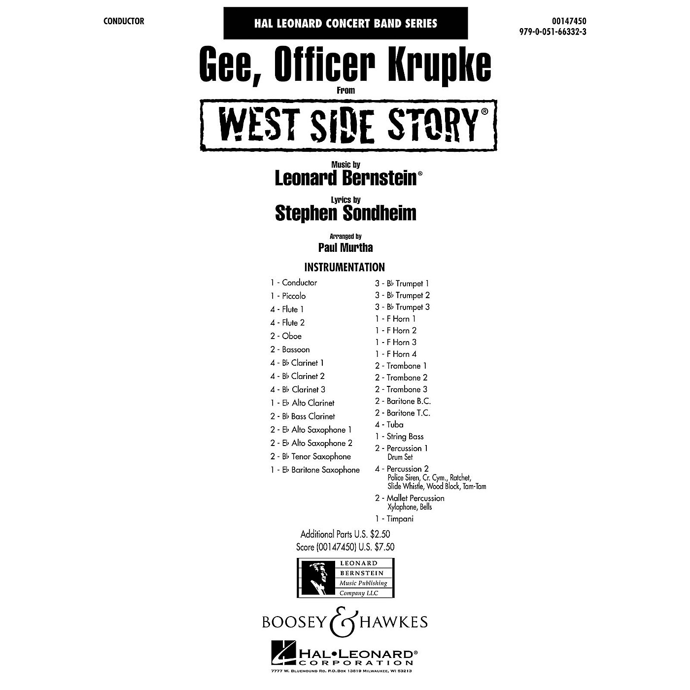 Hal Leonard Gee, Officer Krupke (from West Side Story) Concert Band Level 4 Arranged by Paul Murtha thumbnail