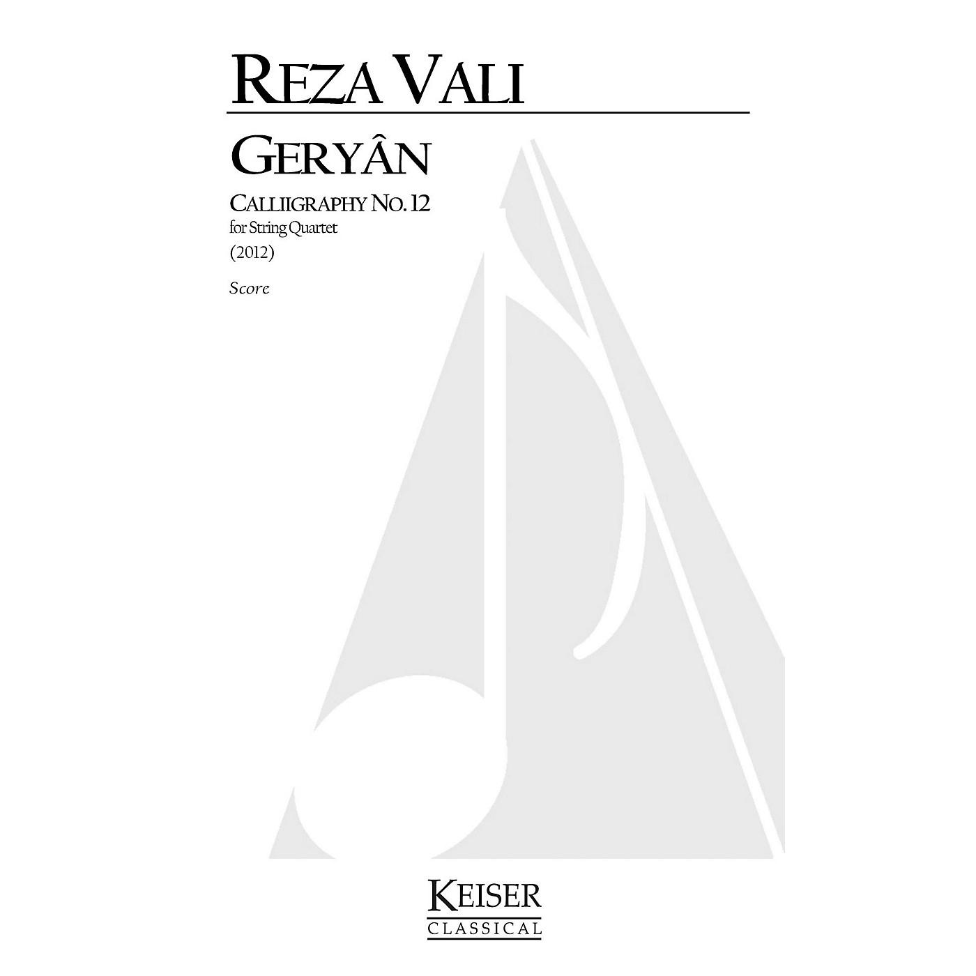 Lauren Keiser Music Publishing Geryan: Calligraphy No. 12 for String Quartet LKM Music Series by Reza Vali thumbnail