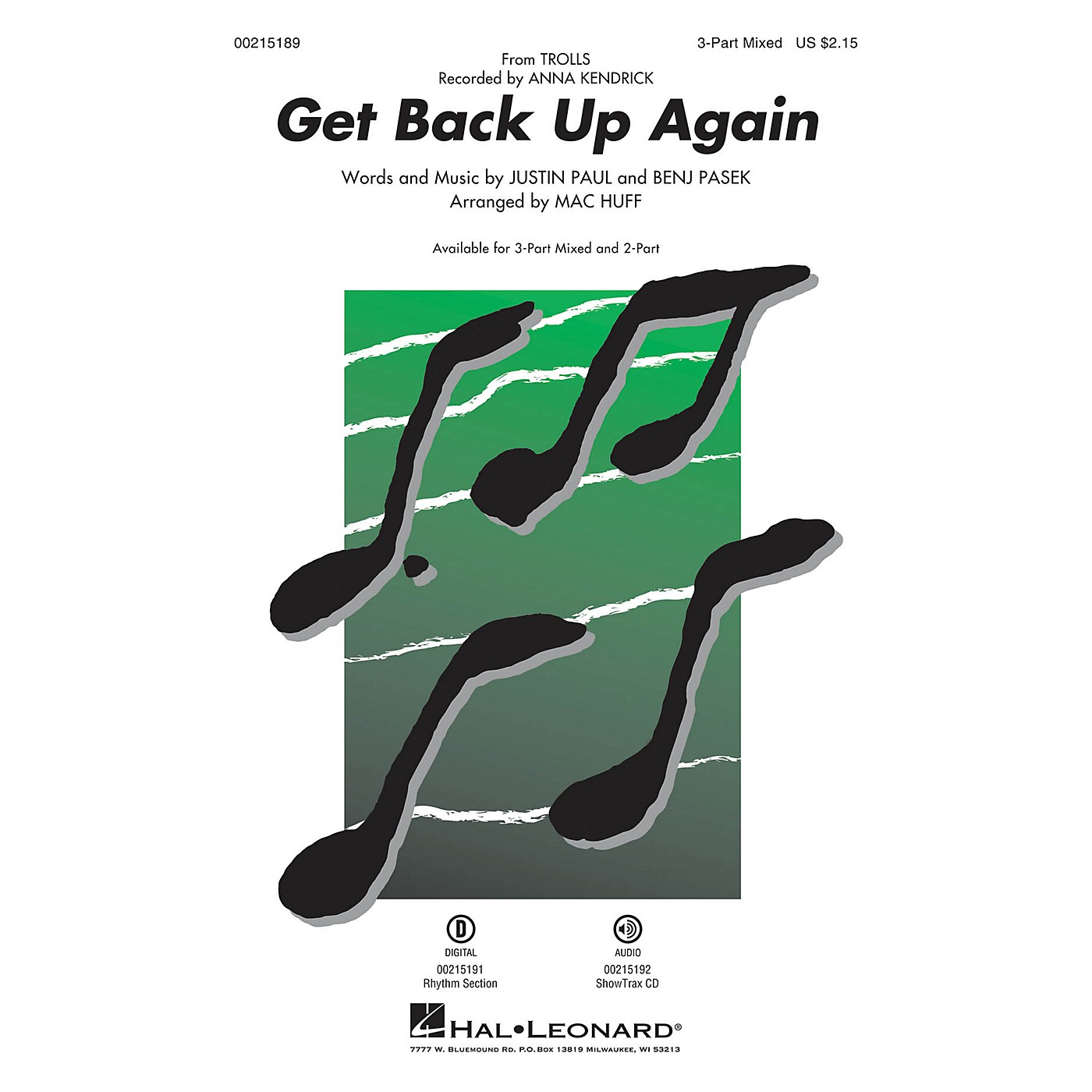 Hal Leonard Get Back Up Again (from Trolls) 3-Part Mixed by Anna Kendrick arranged by Mac Huff thumbnail