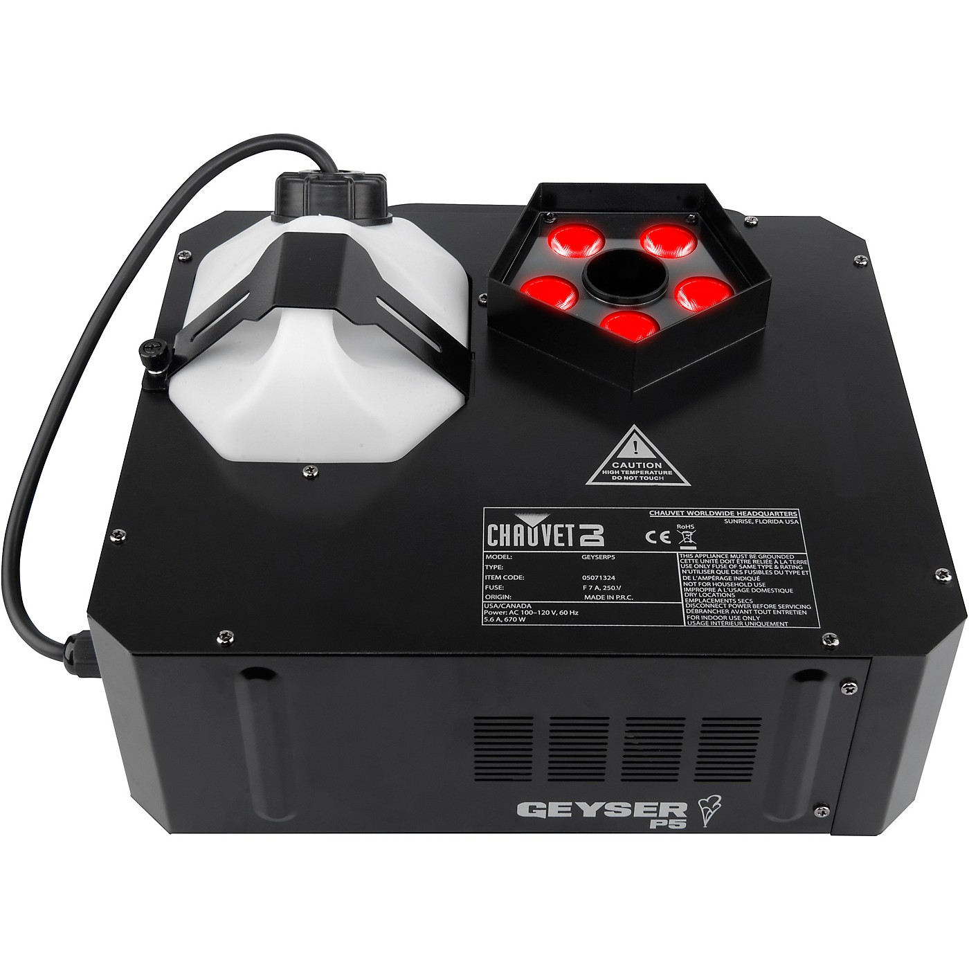 CHAUVET DJ Geyser P5 Compact Vertical Fog Machine with RGBA+UV LEDs and Wireless Remote thumbnail
