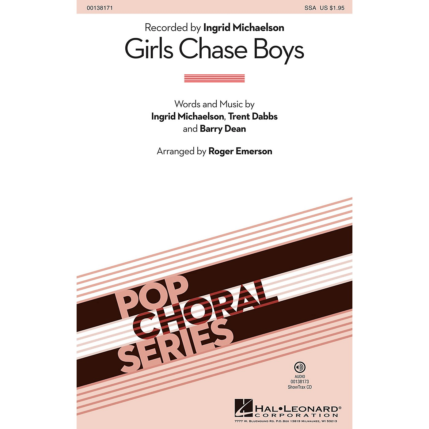 Hal Leonard Girls Chase Boys ShowTrax CD by Ingrid Michaelson Arranged by Roger Emerson thumbnail