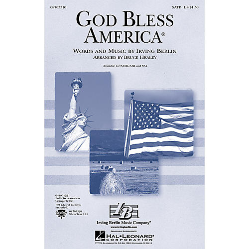 Hal Leonard God Bless America® (Festival Edition w/Vocal Solo and opt. Narrator) SATB arranged by Bruce Healey thumbnail