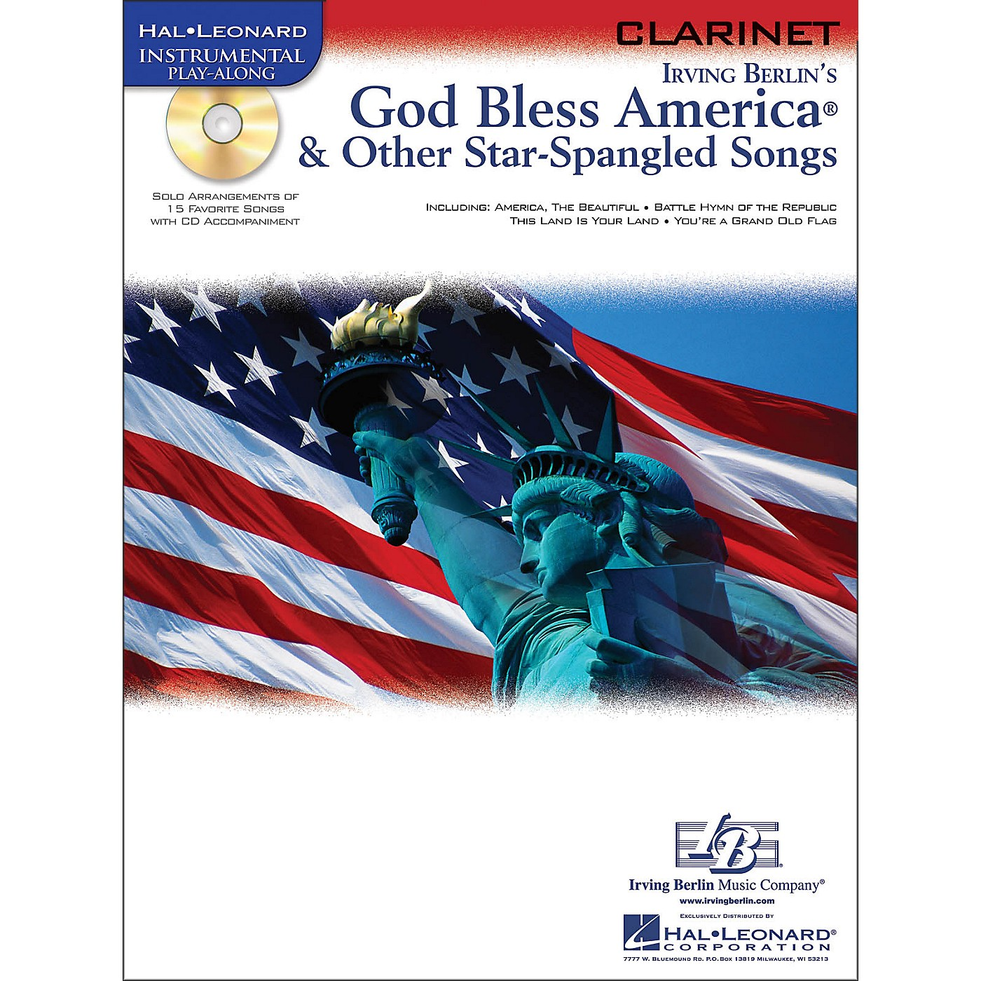 Hal Leonard God Bless America & Other Star-Spangled Songs for Clarinet instrumental Play-Along Book/CD thumbnail