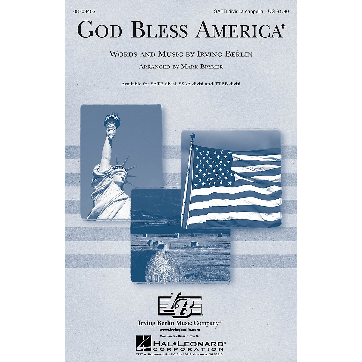 Hal Leonard God Bless America® TTBB Div A Cappella Arranged by Mark Brymer thumbnail