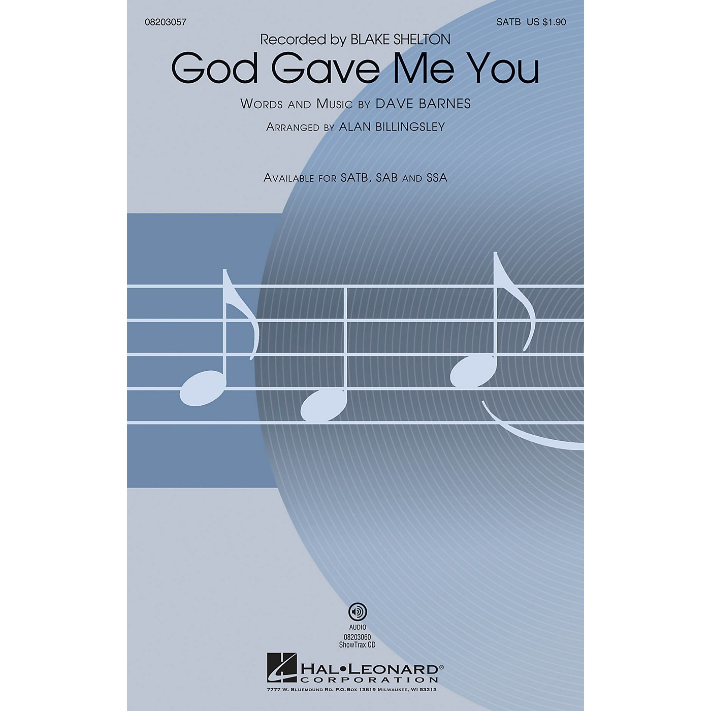 Hal Leonard God Gave Me You ShowTrax CD by Blake Shelton Arranged by Alan Billingsley thumbnail