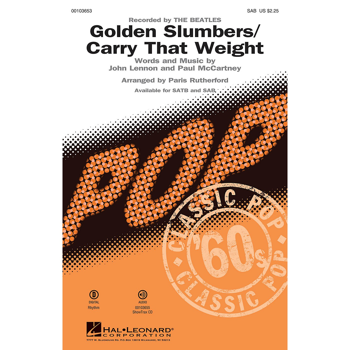Hal Leonard Golden Slumbers/Carry That Weight (SAB) SAB by The Beatles arranged by Paris Rutherford thumbnail