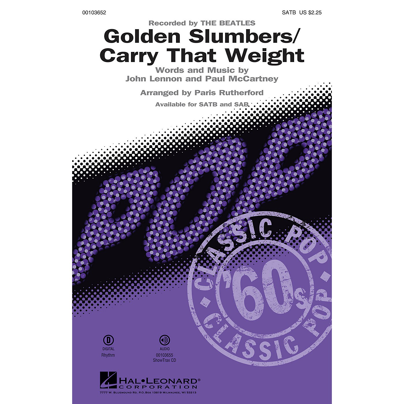 Hal Leonard Golden Slumbers/Carry That Weight (SATB) SATB by The Beatles arranged by Paris Rutherford thumbnail