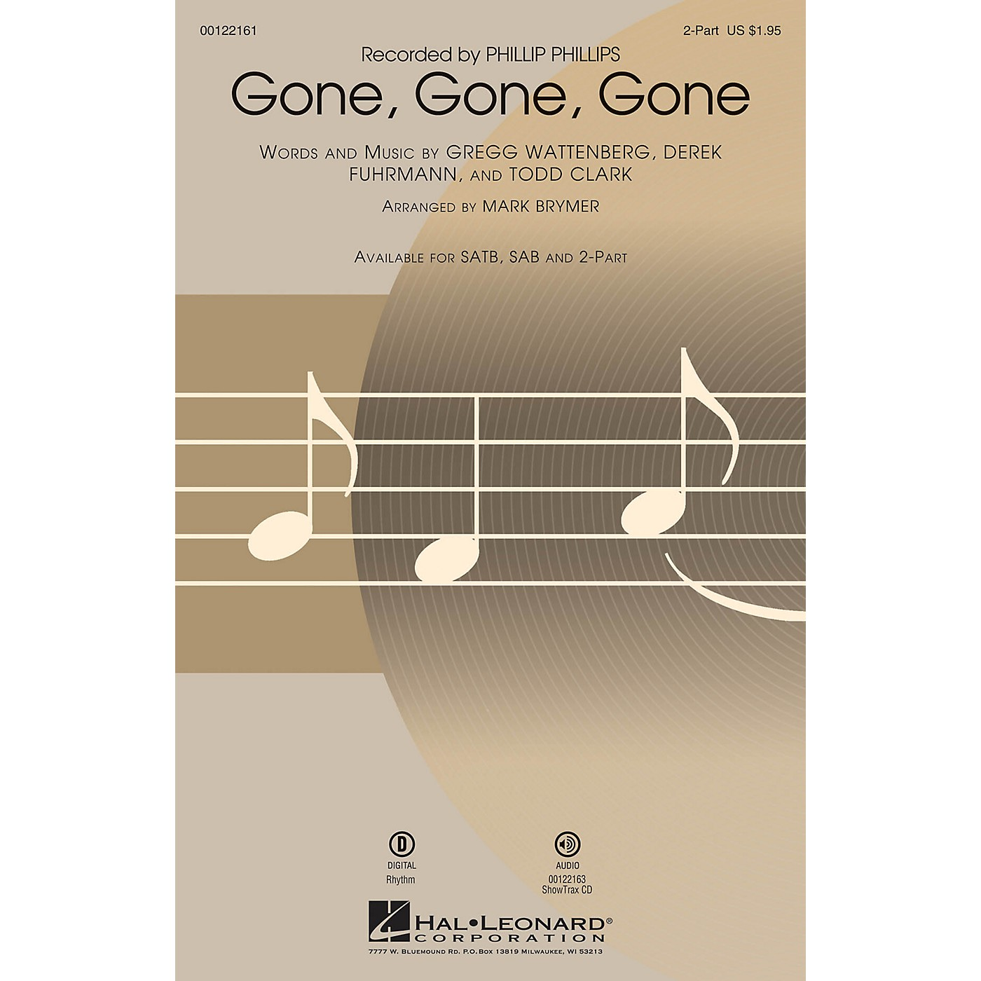 Hal Leonard Gone, Gone, Gone 2-Part by Phillip Phillips arranged by Mark Brymer thumbnail