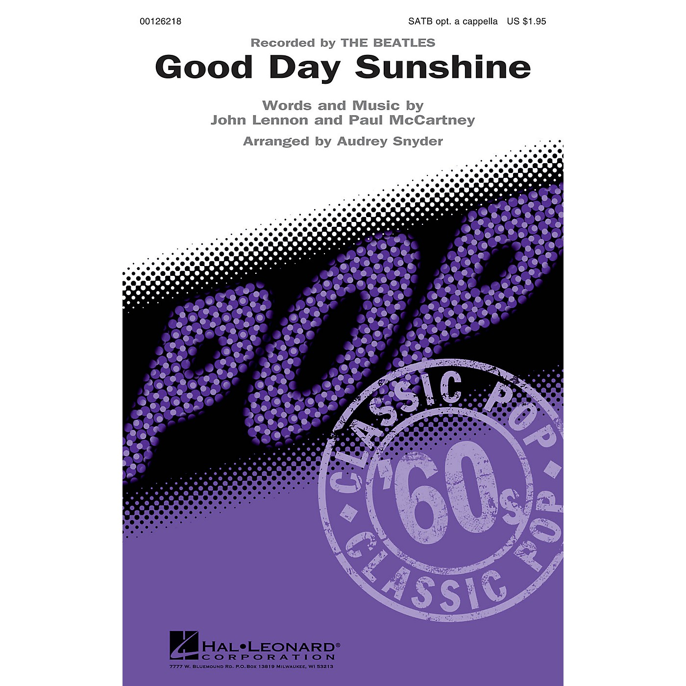 Hal Leonard Good Day Sunshine SATB by Beatles arranged by Audrey Snyder thumbnail