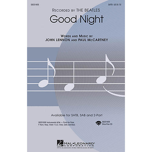 Hal Leonard Good Night 2-Part by The Beatles Arranged by Audrey Snyder thumbnail