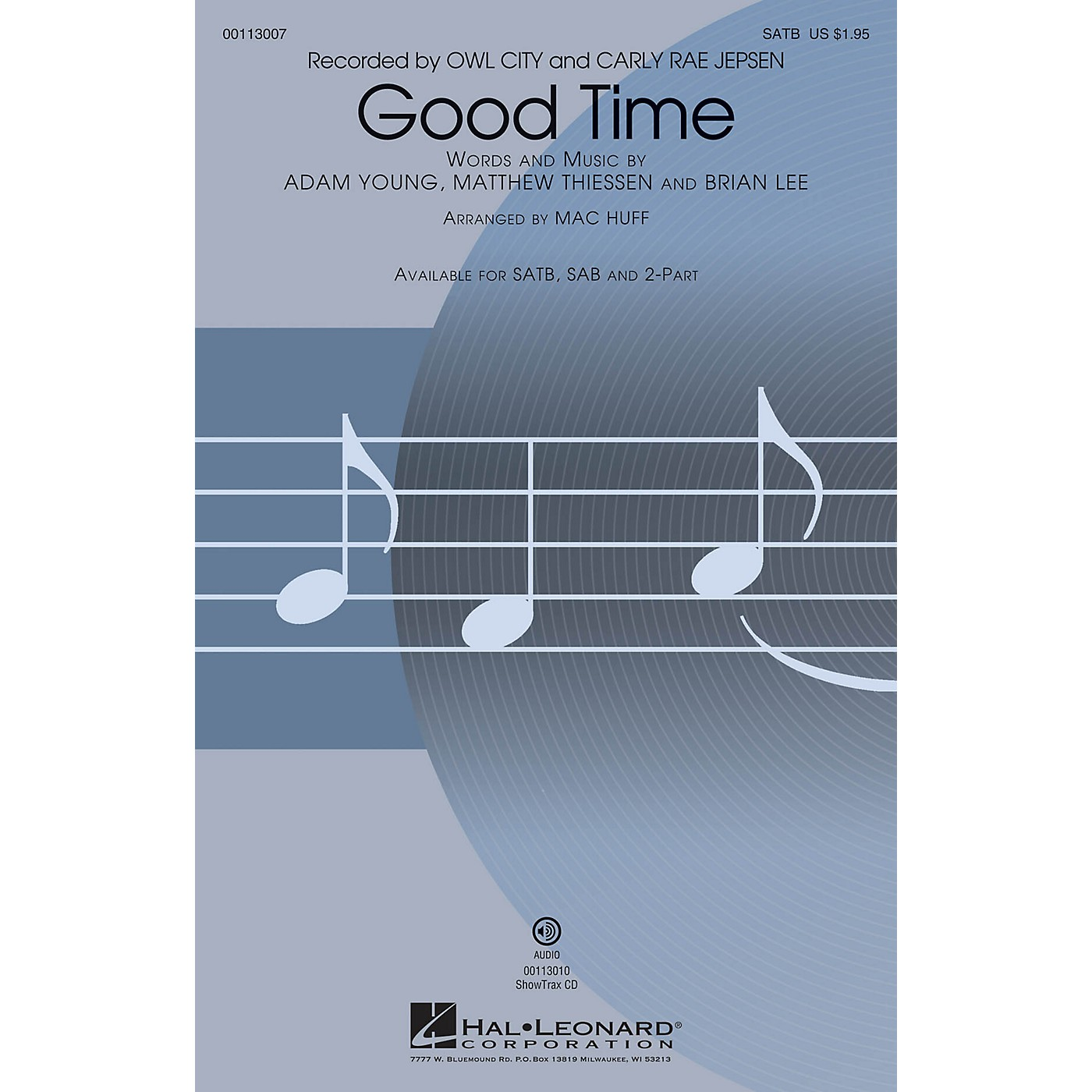 Hal Leonard Good Time (SAB) SAB by Owl City Arranged by Mac Huff thumbnail