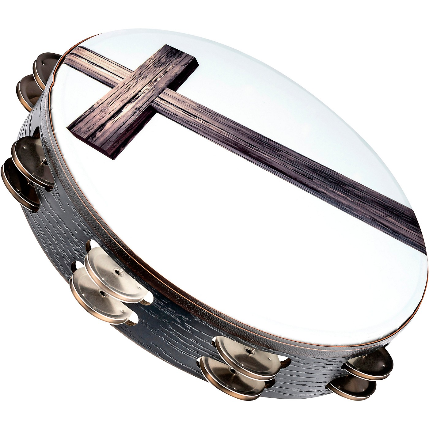 MEINL Gospel Praise and Worship Church Tambourine with Cross Graphic and Double Row Steel Jingles thumbnail