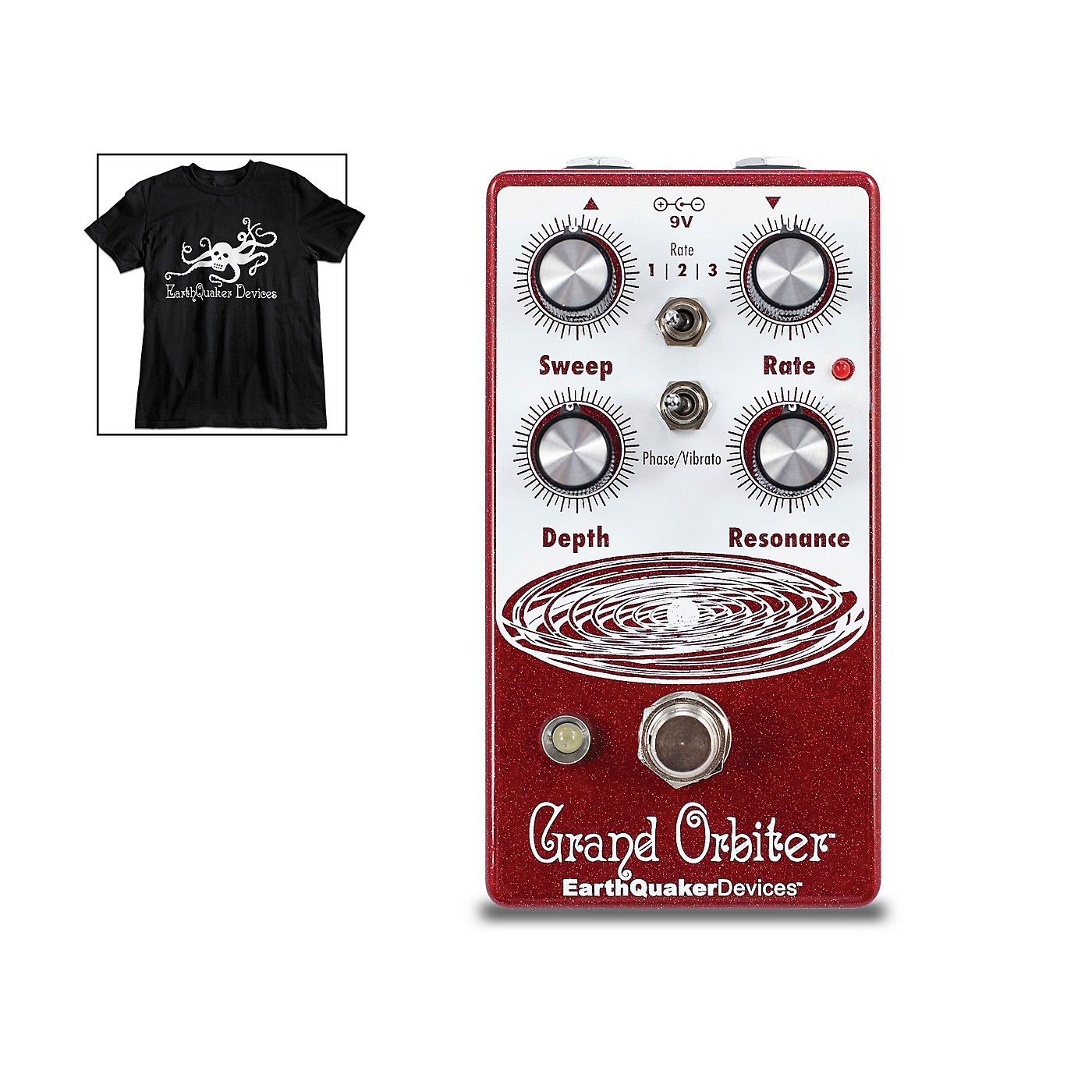 Earthquaker Devices Grand Orbiter V3 Phase Effects Pedal and Octoskull T-Shirt Large Black thumbnail