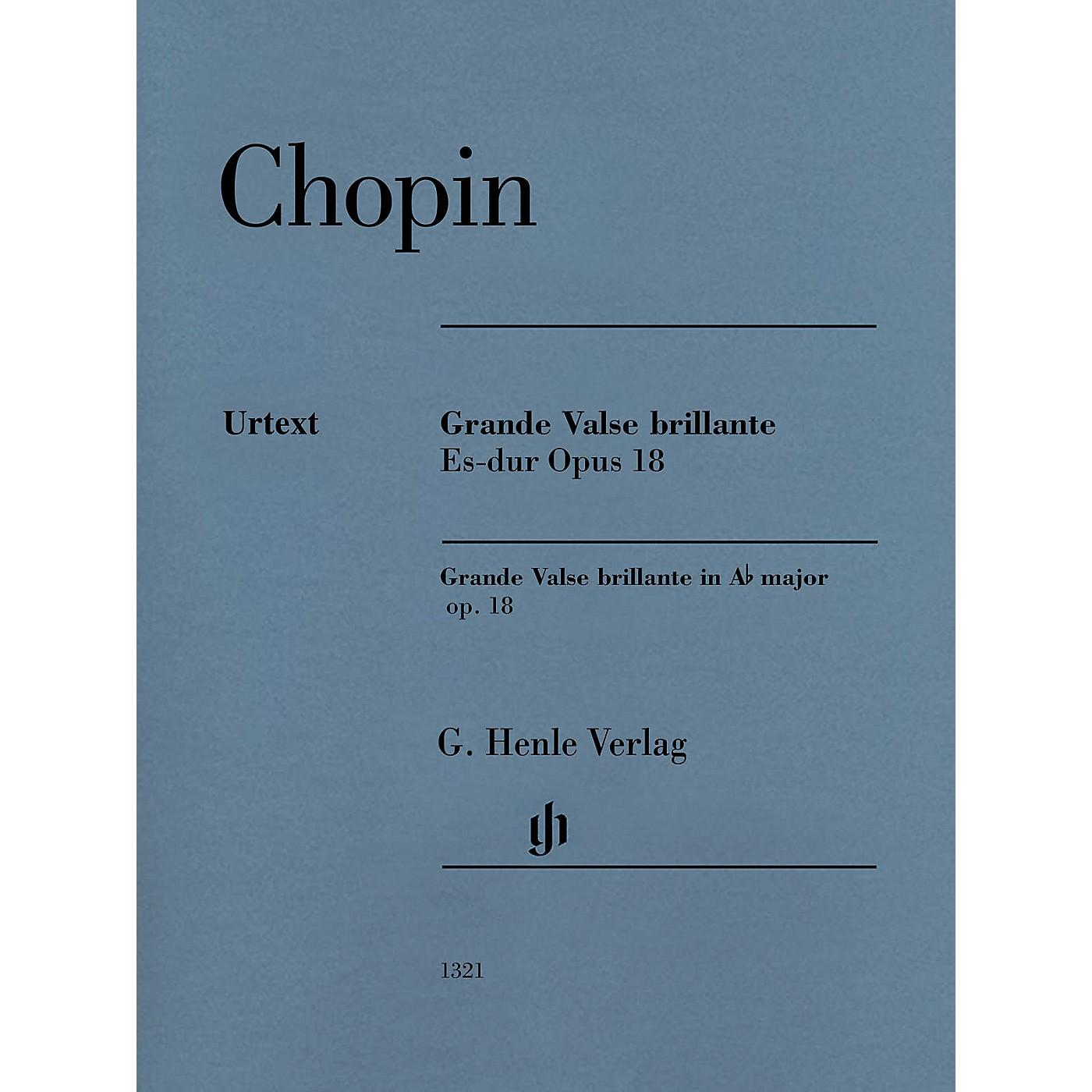 G. Henle Verlag Grande Valse Brillante E-flat Major Op. 18 (Edition with Fingering) Henle Music Folios Series Softcover thumbnail