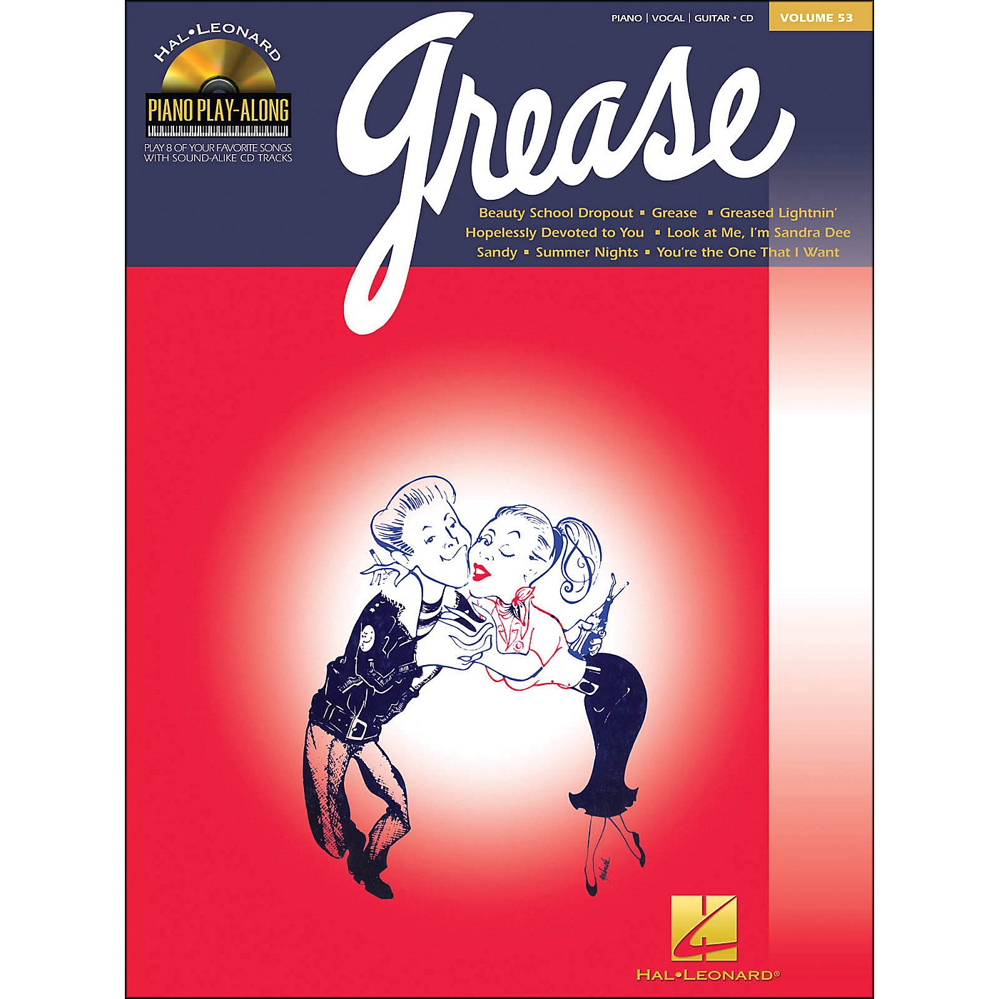 Hal Leonard Grease Piano Play-Along Volume 53 Book/CD arranged for piano, vocal, and guitar (P/V/G) thumbnail