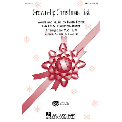 Hal Leonard Grown Up Christmas List SATB by Amy Grant arranged by Mac Huff thumbnail