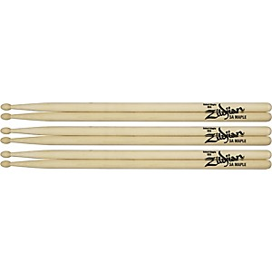 Zildjian Maple Drumsticks 3-Pack 5B Wood Tip