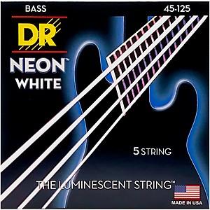 DR Strings Hi-Def NEON White Coated Medium 5-String Bass Strings
