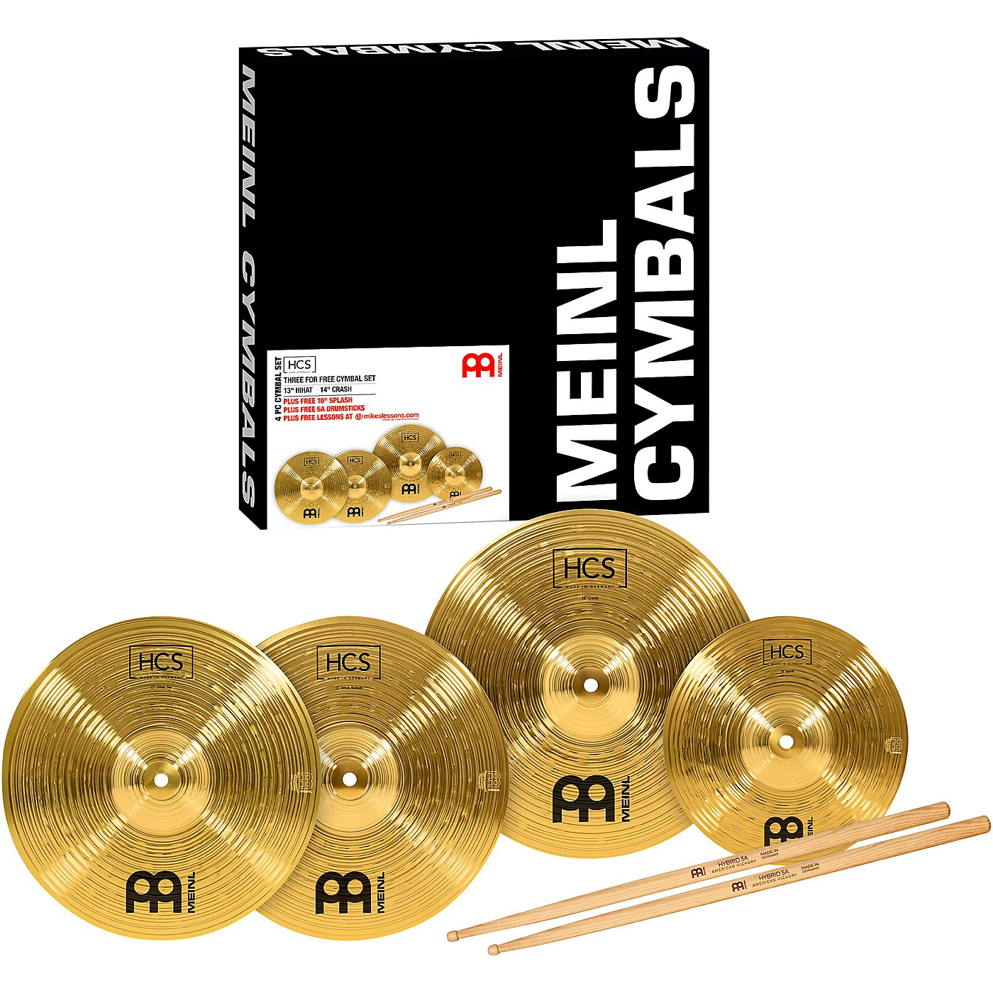 Meinl HCS Cymbal Pack with FREE Splash, Sticks, and Lessons thumbnail