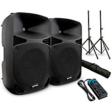 "Gemini HPS-15BLU 15"" Powered Speaker Pair with Stands and Power Strip"