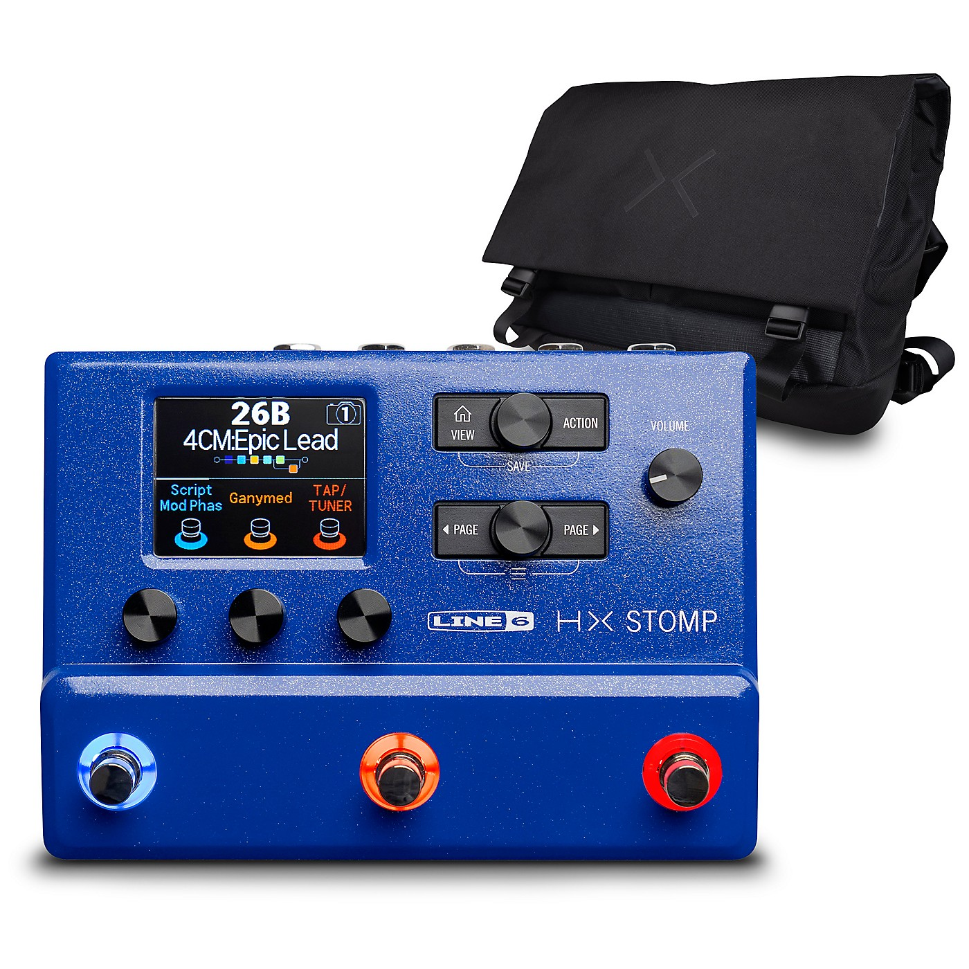 Line 6 HX Stomp Limited Edition Multi-Effects Pedal-Lightning Blue with HX Messenger Bag thumbnail