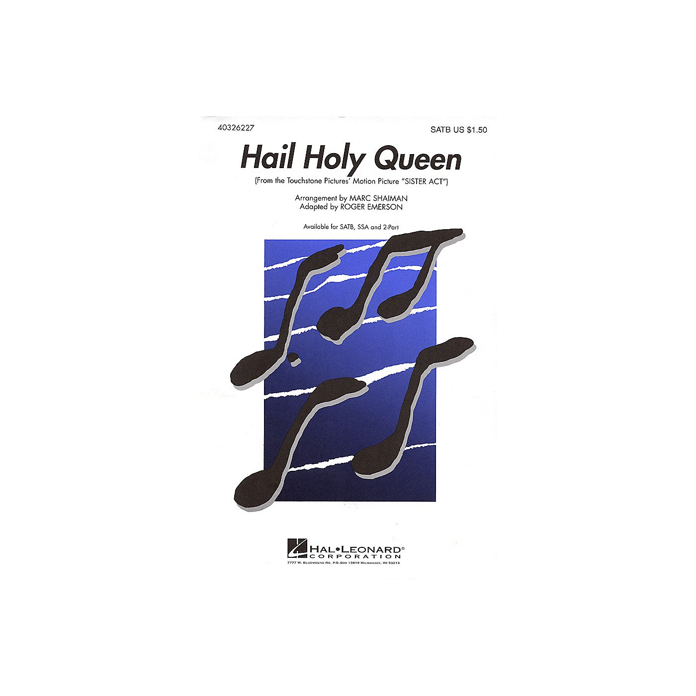 Hal Leonard Hail Holy Queen (from Sister Act) 2-Part Arranged by Roger Emerson thumbnail