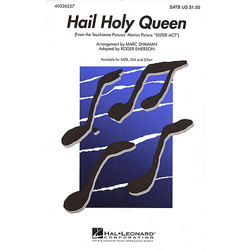 Hal Leonard Hail Holy Queen (from Sister Act) SATB arranged by Roger Emerson thumbnail