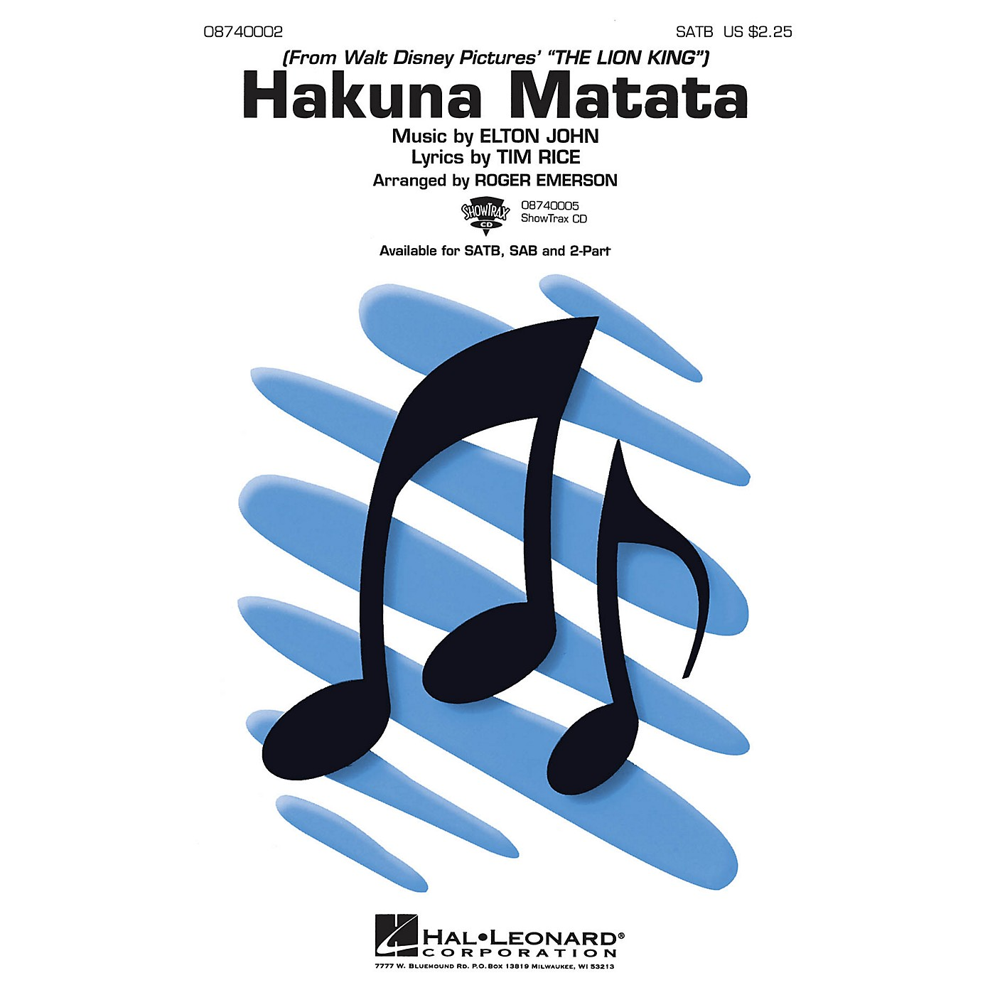 Hal Leonard Hakuna Matata (from The Lion King) 2-Part Arranged by Roger Emerson thumbnail