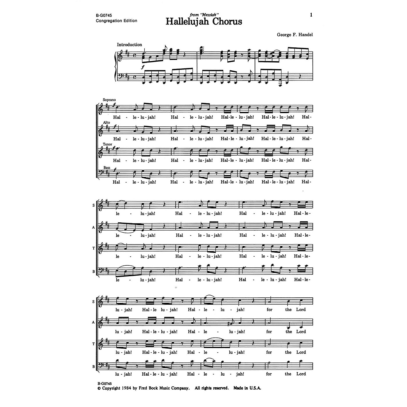 Fred Bock Music Hallelujah Chorus SATB arranged by Fred Bock thumbnail