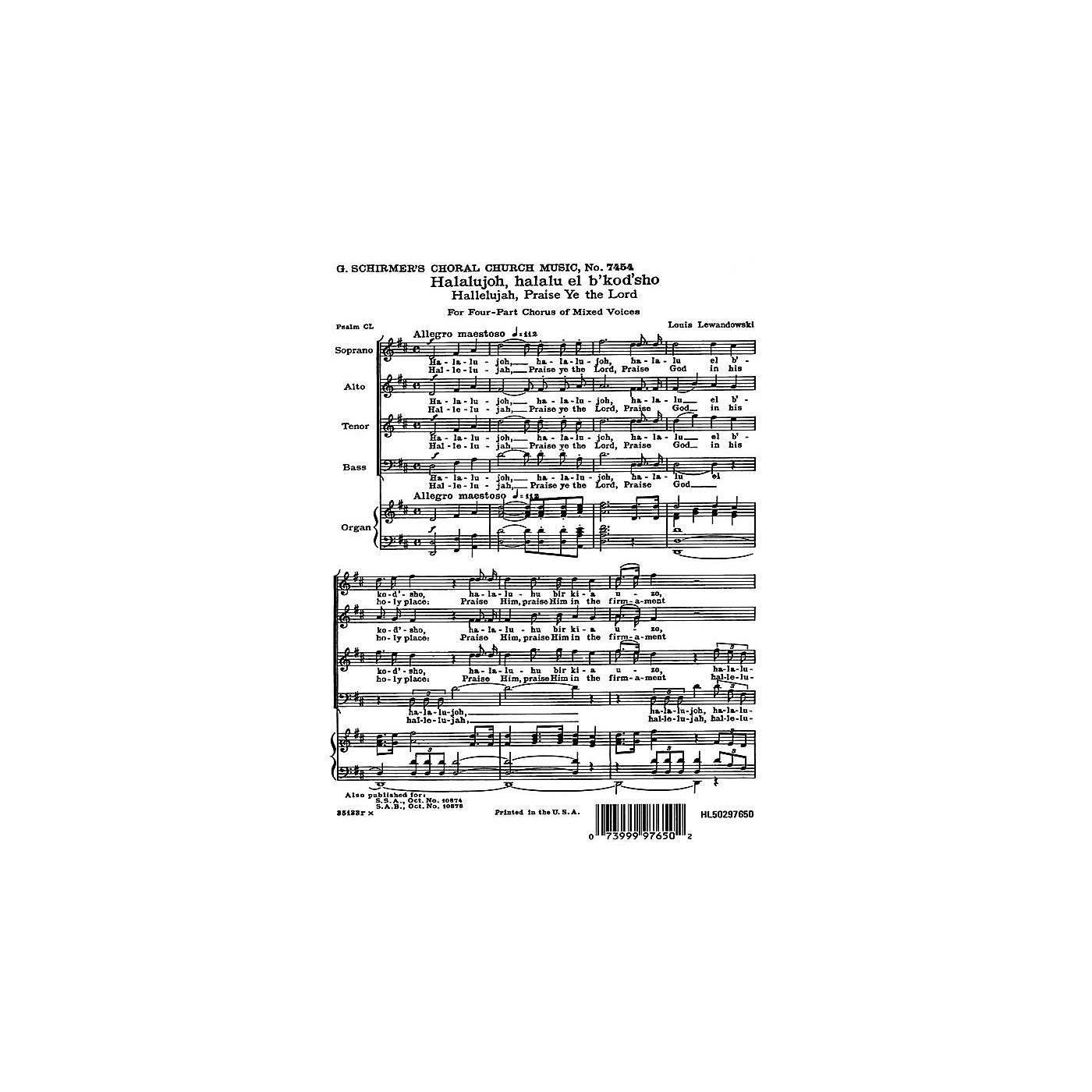 G. Schirmer Hallelujah Praise Ye the Lord (English & Hebrew) SATB composed by Louis Lewandowski thumbnail