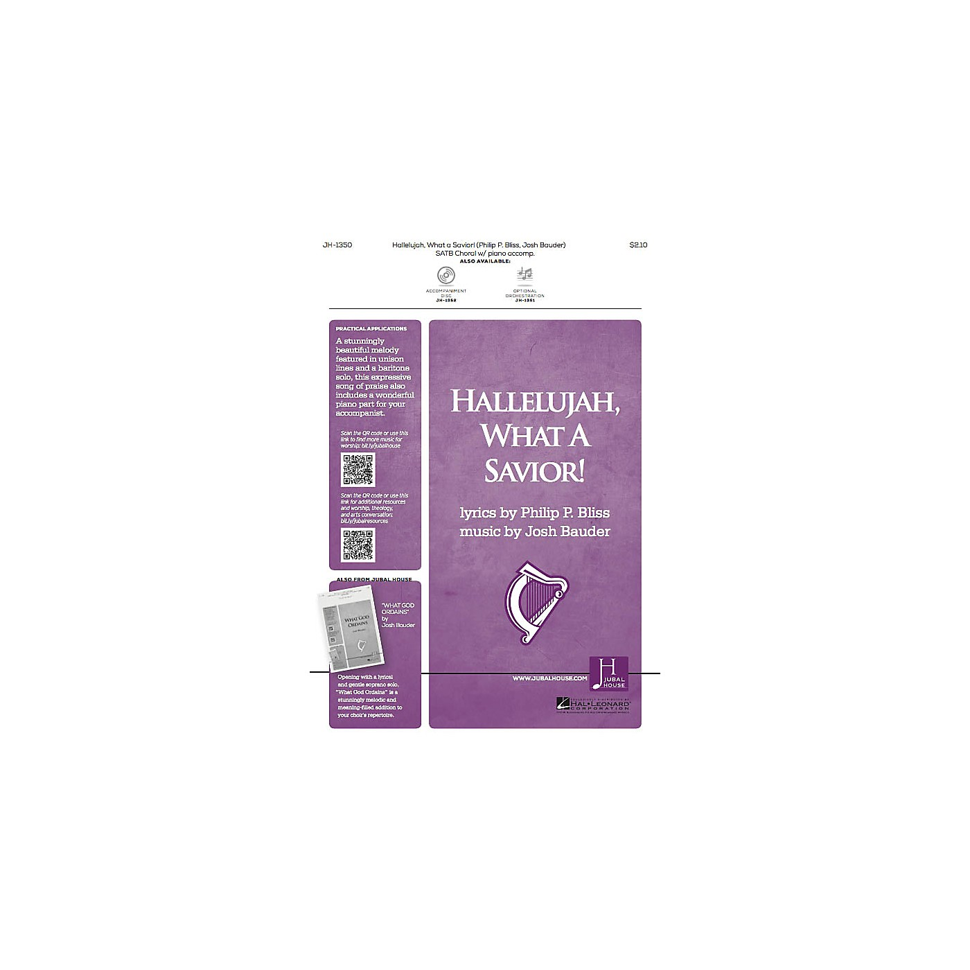 Jubal House Publications Hallelujah, What a Savior! SATB composed by Josh Bauder thumbnail