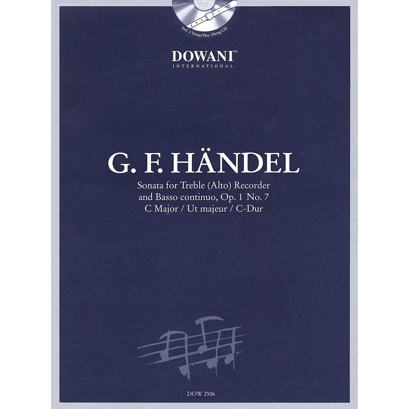Dowani Editions Handel: Sonata in C Major, Op. 1, No. 7 for Treble (Alto) Recorder and Basso Continuo Dowani Book/CD thumbnail