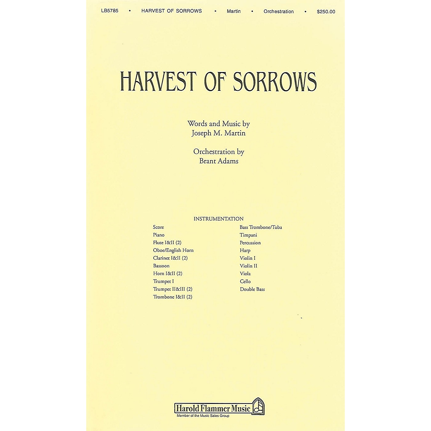 Shawnee Press Harvest of Sorrows Score & Parts composed by Joseph M. Martin thumbnail