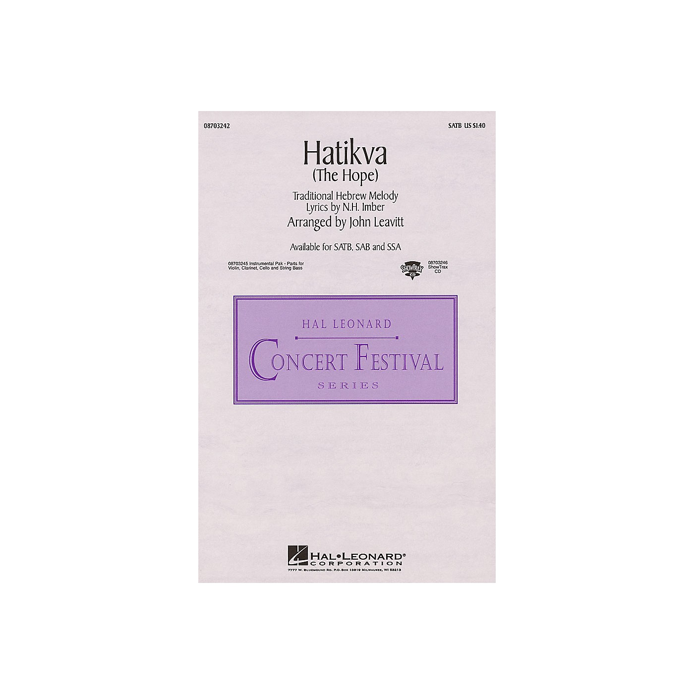 Hal Leonard Hatikva (The Hope) SSA Arranged by John Leavitt thumbnail