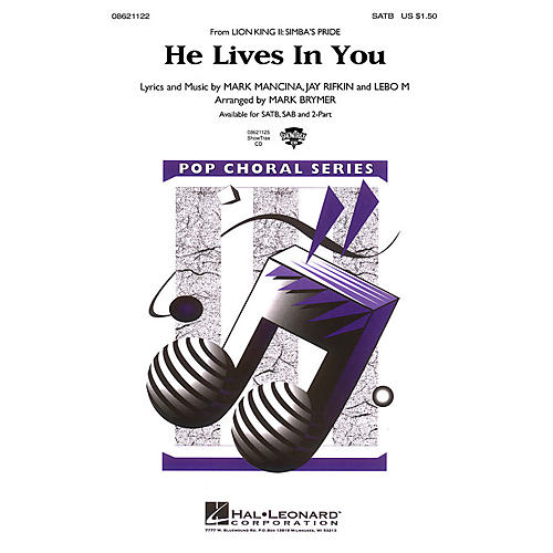 Hal Leonard He Lives in You (from The Lion King II: Simba's Pride) 2-Part Arranged by Mark Brymer thumbnail