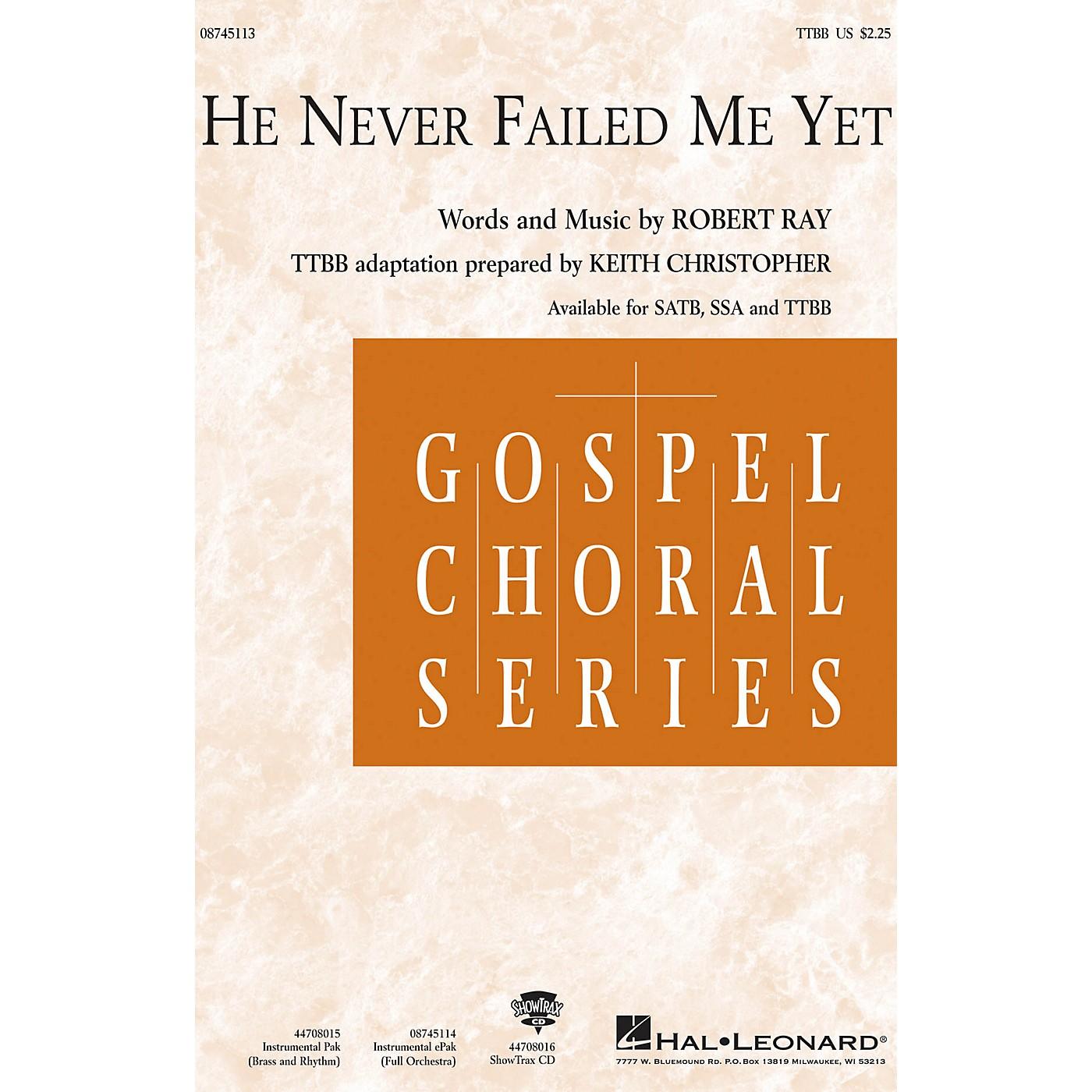 Hal Leonard He Never Failed Me Yet IPAKO Arranged by Keith Christopher thumbnail