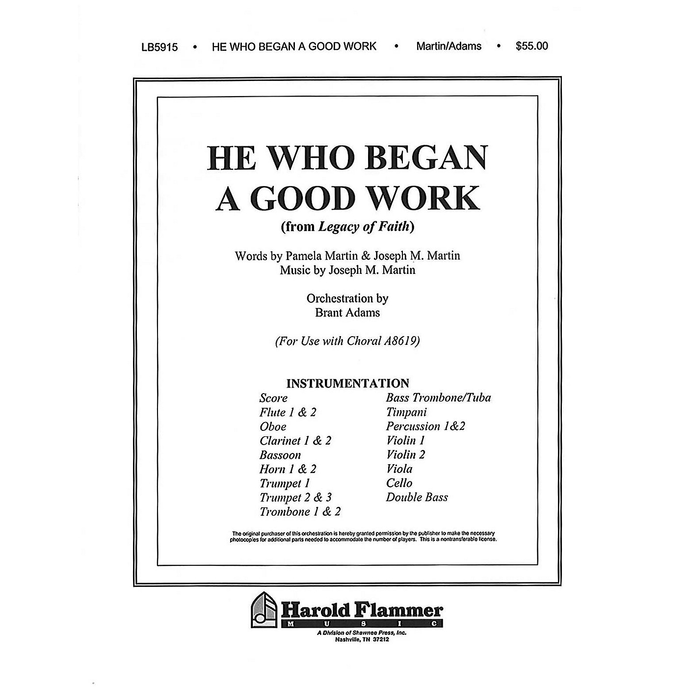 Shawnee Press He Who Began a Good Work (from Legacy of Faith) Score & Parts composed by Joseph M. Martin thumbnail