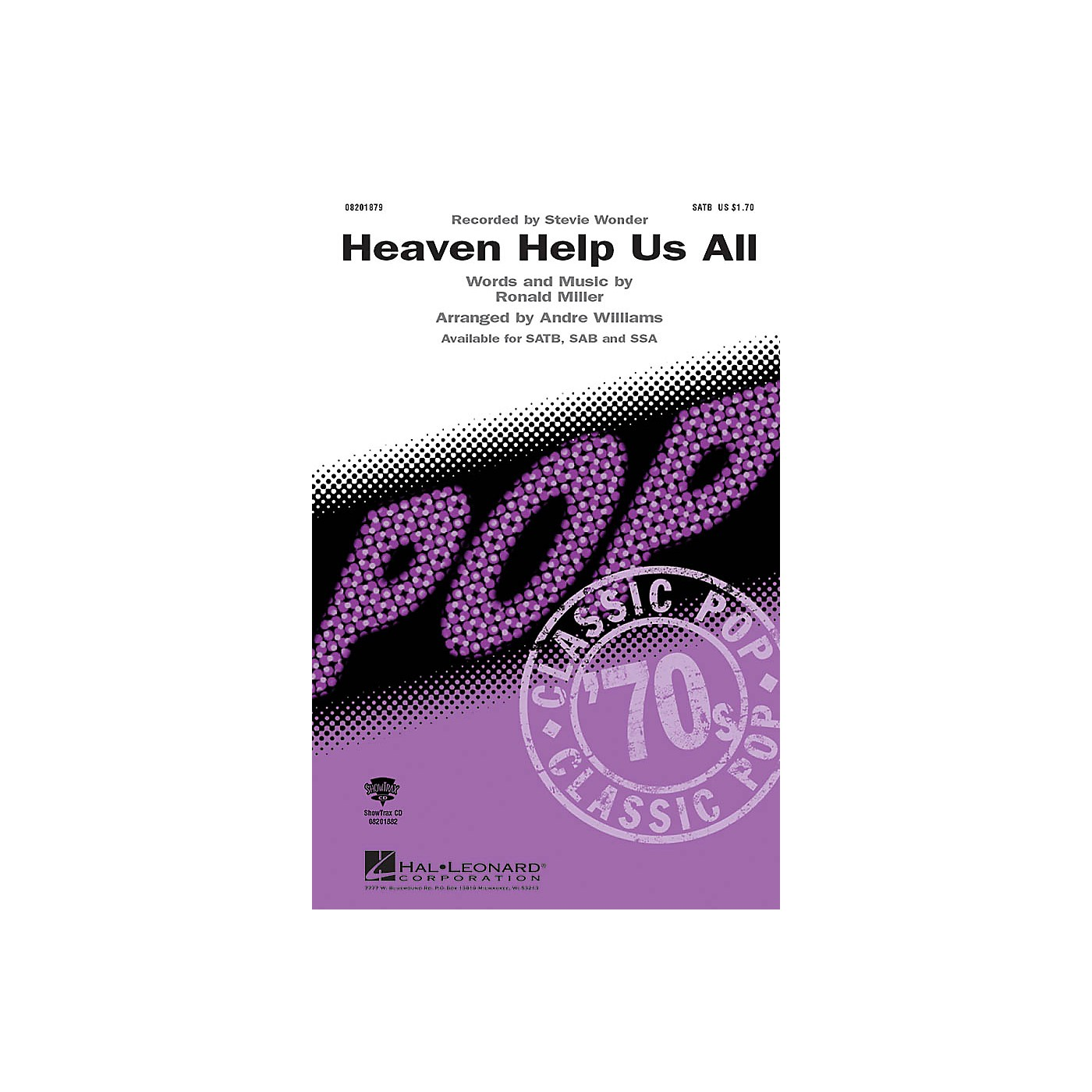 Hal Leonard Heaven Help Us All ShowTrax CD by Stevie Wonder Arranged by Andre Williams thumbnail