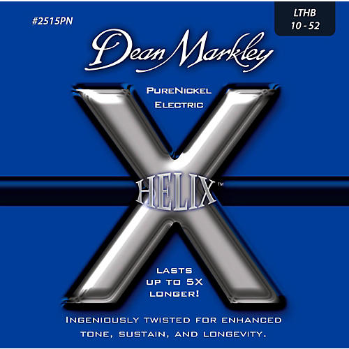 Dean Markley Helix Pure Nickel Light Top Heavy Bottom Electric Guitar Strings (10-52) thumbnail