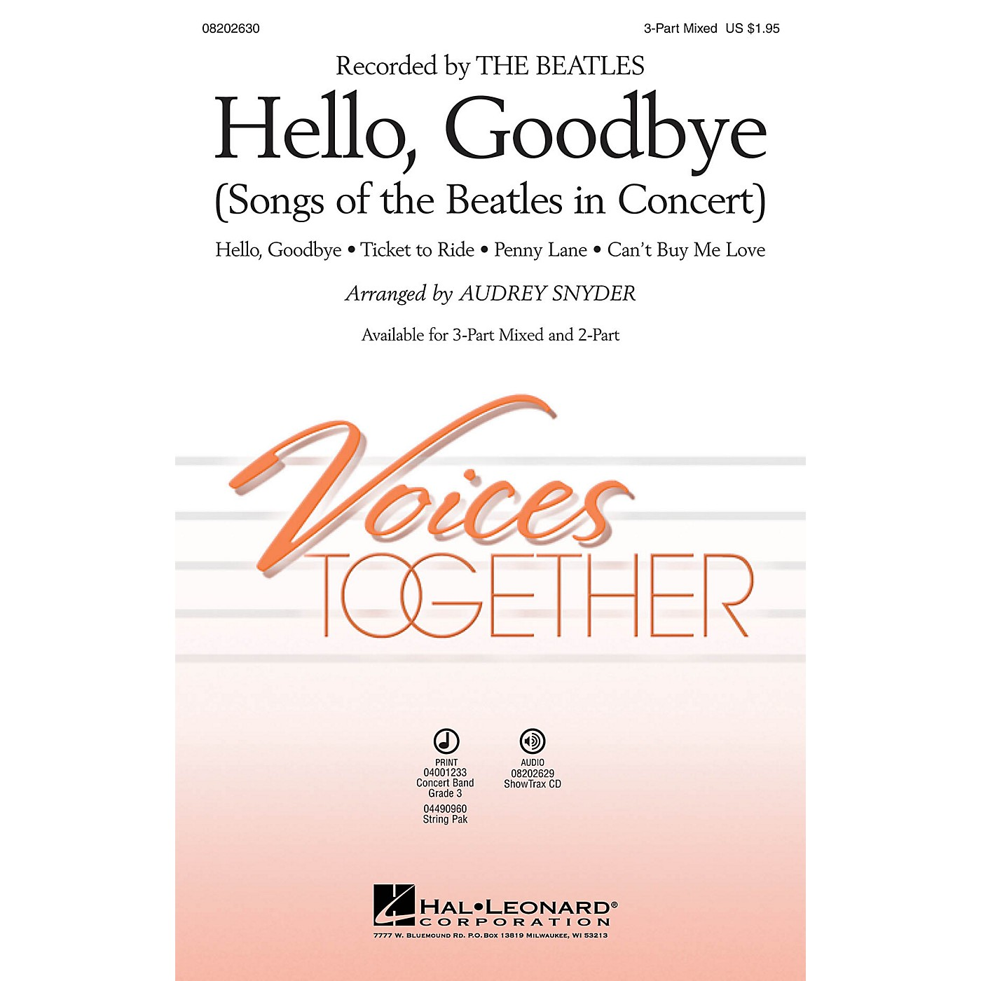 Hal Leonard Hello, Goodbye (Songs of the Beatles in Concert) 3-Part Mixed arranged by Audrey Snyder thumbnail